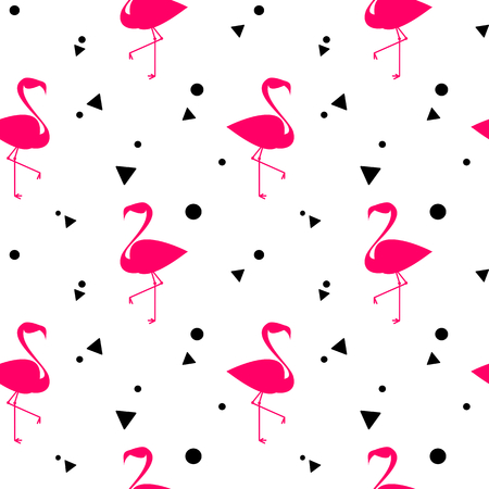 fabric textures: Pink flamingos silhouette seamless vector pattern background illustration Illustration