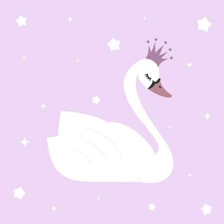 Leuke mooie prinses zwaan op violette achtergrond vector illustratie