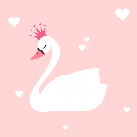 Cute lovely princess swan on a pink background vector illustration Ilustração