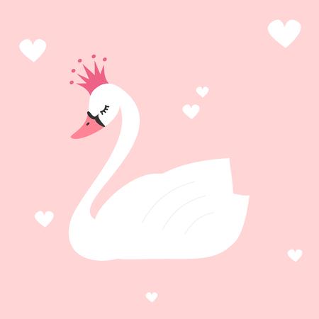Leuke mooie prinses zwaan op een roze achtergrond vector illustratie