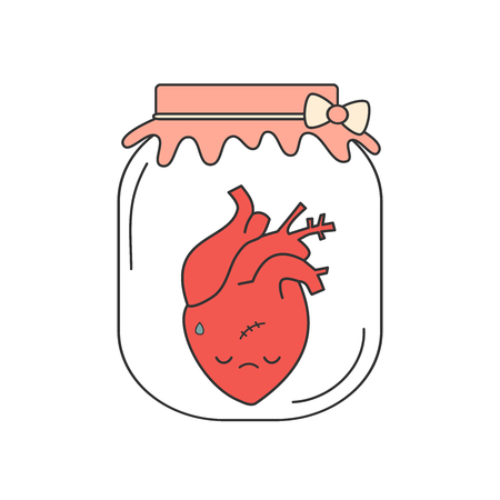 Cute cartoon sad human heart in a jar vector concept illustration isolated on white background Illustration