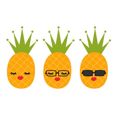 Cute cartoon pineapple vector set illustration Illustration
