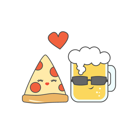 dinner party: Cute cartoon pizza and glass of beer in love funny vector illustration