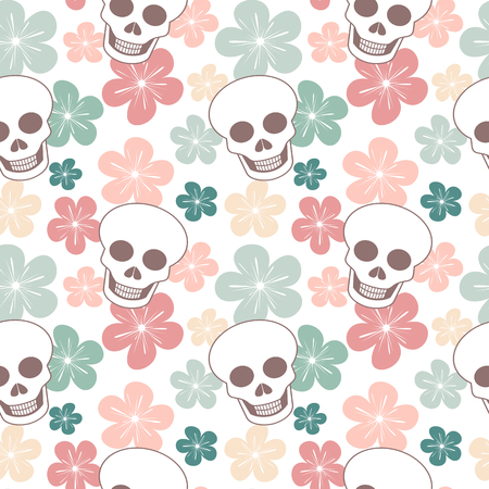 wildcard: Cute colorful seamless vector pattern background with skulls and flowers Illustration