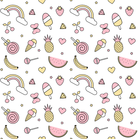 banana: Cute colorful seamless vector pattern illustration with pineapples, rainbow, cherries, strawberries, ice cream, stars, hearts, lollipops, diamonds, banana, watermelon and butterflies