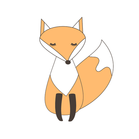 vector cute cartoon fox isolated on white background animaleanimalescoanimalianimalisticobelluinobestiabestialeartedisciplina umanisticaproduzione artisticacartonecartone animatocartonidisegnofumettovignettacaratterecaratterialecaratteristicaindolenaturna