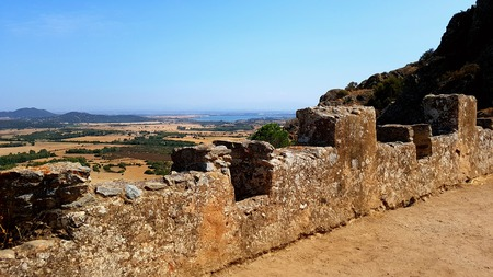 ancient ruin of Waterfredda Castle in Siliqua in a beautiful suuny day. Sardinia. italy