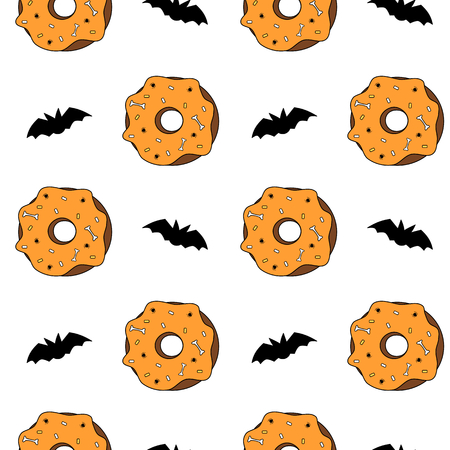 cute cartoon halloween seamless pattern vector illustration background with donuts and bats