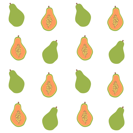 Cute seamless vector pattern background illustration with papaya.