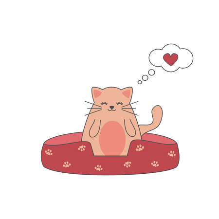 Cute lovely cartoon cat with bubble chat vector illustration. Illustration