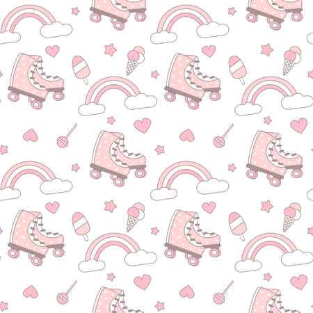 cute pink and white seamless pattern vector background illustration with roller skates, rainbows, hearts, stars, ice cream and lollipops