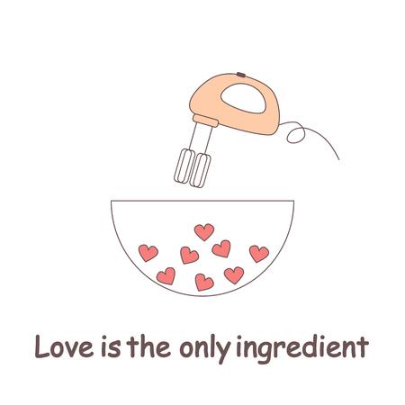 cute cartoon love concept vector illustration mixing hearts.