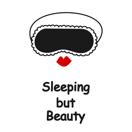 Sleeping but beauty vector card with sleeping mask and red lips