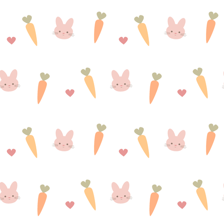 Cute lovely carrots, rabbits and hearts seamless vector pattern background illustration.