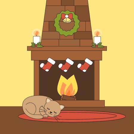 Christmas fireplace image illustration  イラスト・ベクター素材