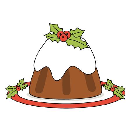 Cartoon christmas pudding illustration isolated on white background