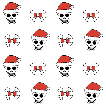 cute lovely christmas seamless vector pattern background with skulls and santa's hat and bones
