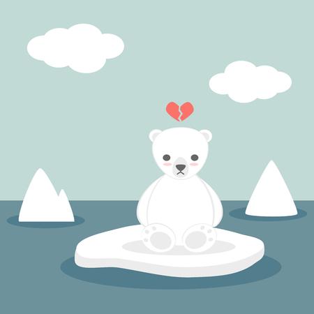 A cute lovely cartoon vector white polar bear on ice Illustration