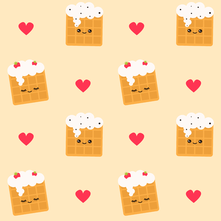 Cute cartoon seamless vector pattern background with waffles in love.