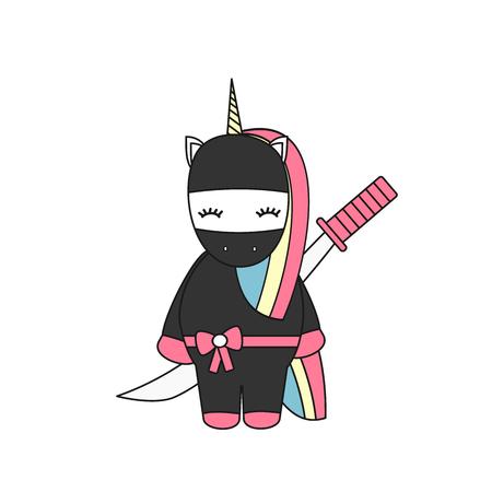 A cute cartoon vector illustration with ninja unicorn with sword