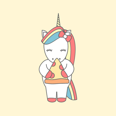 Cute cartoon vector illustration with unicorn eating pizza