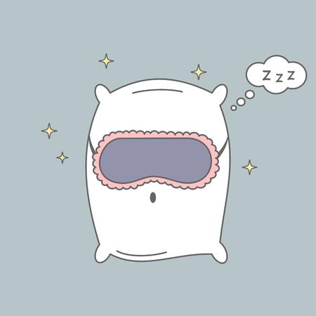 cute cartoon pillow with sleeping mask vector illustration