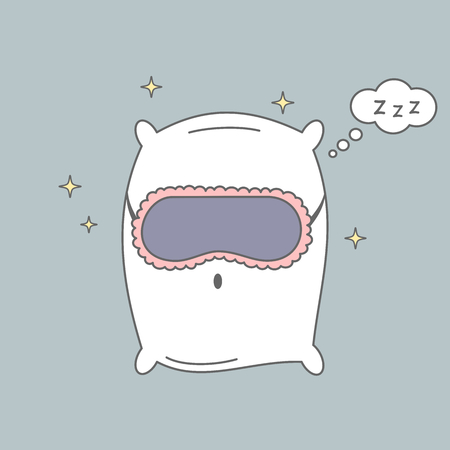 cute cartoon pillow with sleeping mask vector illustration
