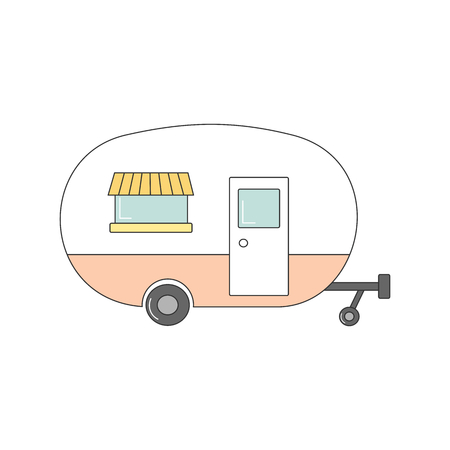 cute cartoon vector camper isolated on white background Vettoriali