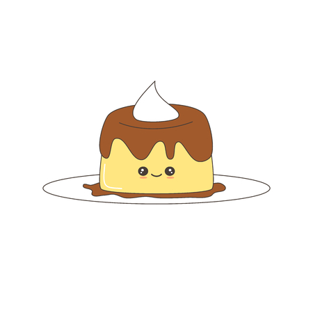 cute cartoon vector pudding isolated on white background Illustration