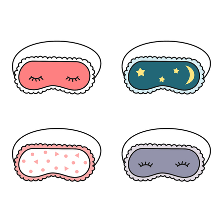 cute cartoon slepping mask set vector illustration