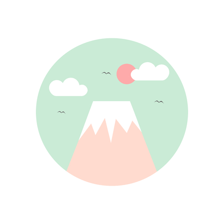 japan fuji mountain vector icon
