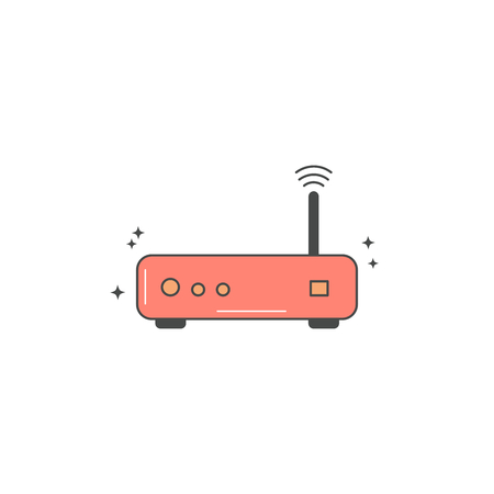 wireless router icon vector isolated on white background  イラスト・ベクター素材