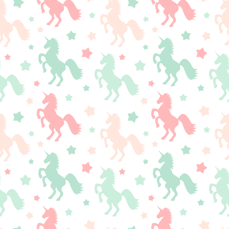 cute colorful unicorns silhouette seamless vector pattern background with stars