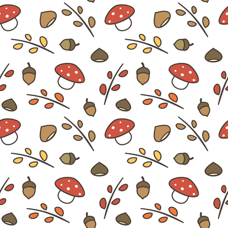 cute lovely autumn seamless pattern vector illustration with branches, leaves, mushroom, acorns, chestnuts