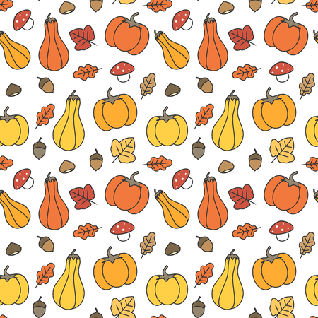 cute fall autumn seamless pattern background with pumpkins, leaves, acorns, chestnuts and mushrooms