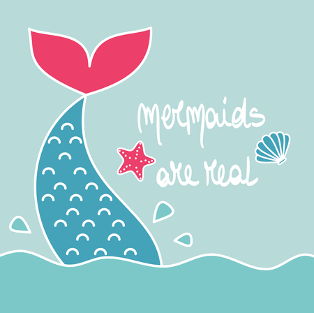 cute cartoon vector hand drawn lettering mermaids are real card