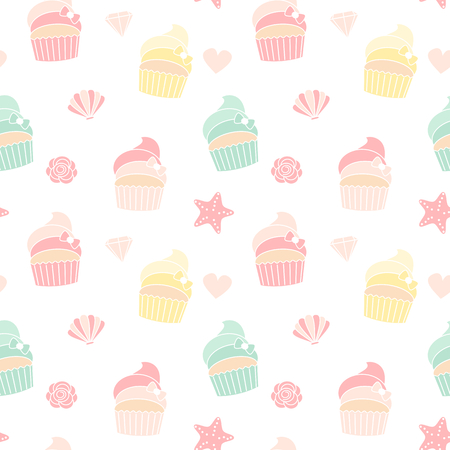 cute colorful summer seamless pattern vector illustration with cupcakes, starfishes, shellfishes, hearts, roses Ilustrace
