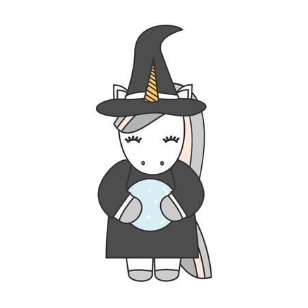 strega unicorno simpatico cartone animato con illustrazione vettoriale sfera di cristallo isolato su sfondo bianco
