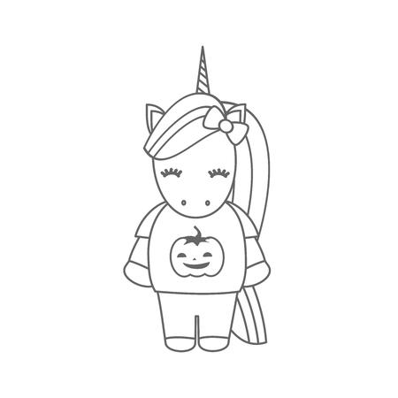 cute cartoon black and white halloween vector illustration with unicorn