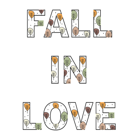 Cute vector fall in love text