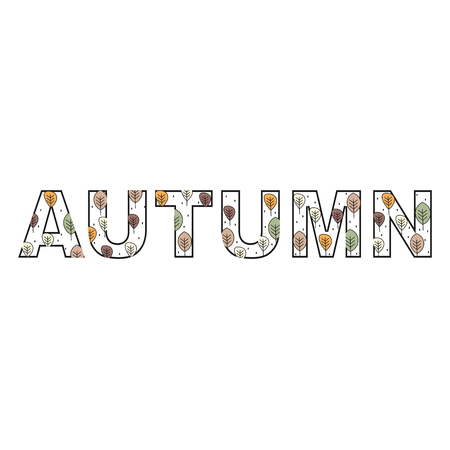 Cute vector autumn text filled with leaves Çizim