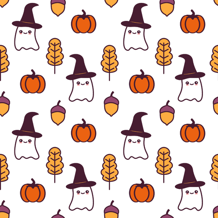 cute cartoon halloween seamless pattern vector illustration with ghosts, pumpkins, leaves and acorns