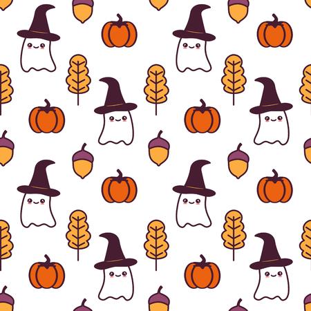niedliche nahtlose Mustervektorillustration des Karikatur-Halloween mit Geistern, Kürbissen, Blättern und Eicheln