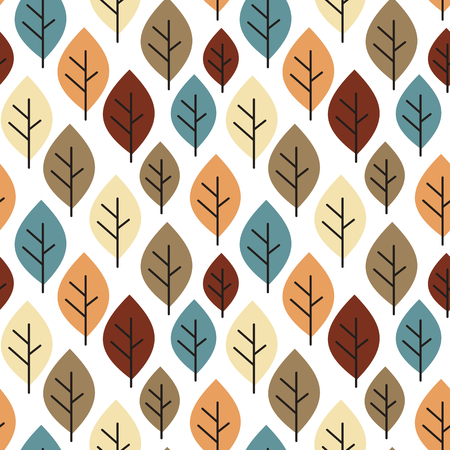 cute colorful autumn fall seamless vector pattern background with leaves