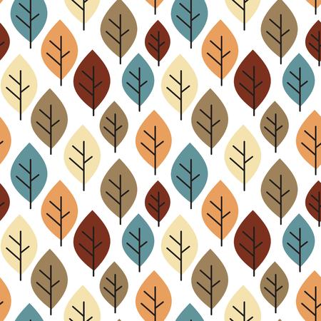 Fondo de patrón de vector transparente de otoño colorido lindo con hojas