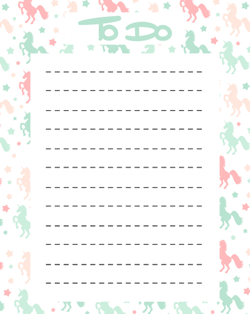 cute to do list vector printable with colorful unicorns