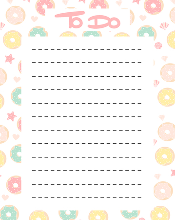 cute to do list vector printable with colorful donuts