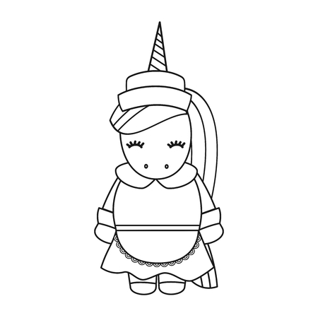cute cartoon female black and white unicorn pilgrim vector illustration isolated