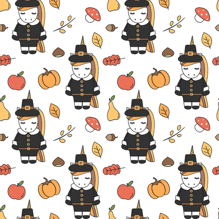 cute cartoon thanksgiving seamless pattern vector illustration with pilgrim unicorns, pumpkins, apples, pears, leaves, acorns, chestnuts and mushrooms