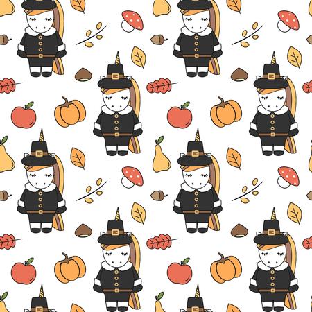 cute cartoon thanksgiving seamless pattern vector illustration with pilgrim unicorns, pumpkins, apples, pears, leaves, acorns, chestnuts and mushrooms